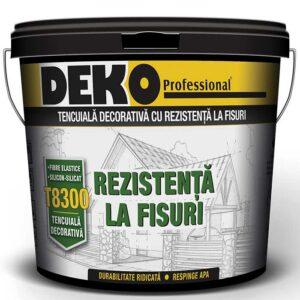 DEKO T8300 tencuiala decorativa cu silicon-silicat si fibre este recomandata a fi utilizata in constructii civile si industriale, pentru protectia si decorarea suprafetelor interioare si exterioare din tencuieli minerale, beton, gleturi, compozite pe baza de ciment, termosistem sau alte tipuri de suprafete.