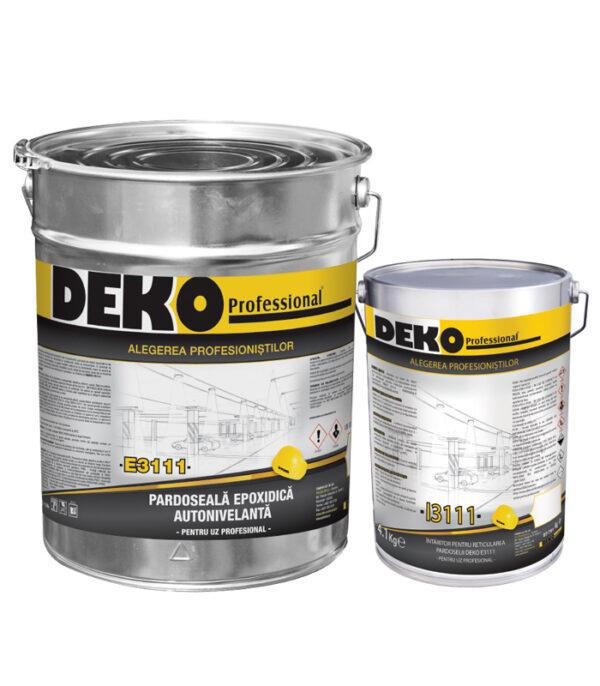 DEKO E3111+I3111 pardoseala epoxidica autonivelanta COLORATĂ pentru pardoseli interioare cu autonivelare, cu aspect plăcut și cu rezistență mare la uzura.