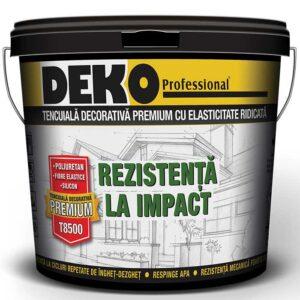 DEKO T8500 tencuiala decorativa premium este o tencuiala decorativa cu poliuretan, silicon si fibre pentru constructii civile, industriale si termosistem.