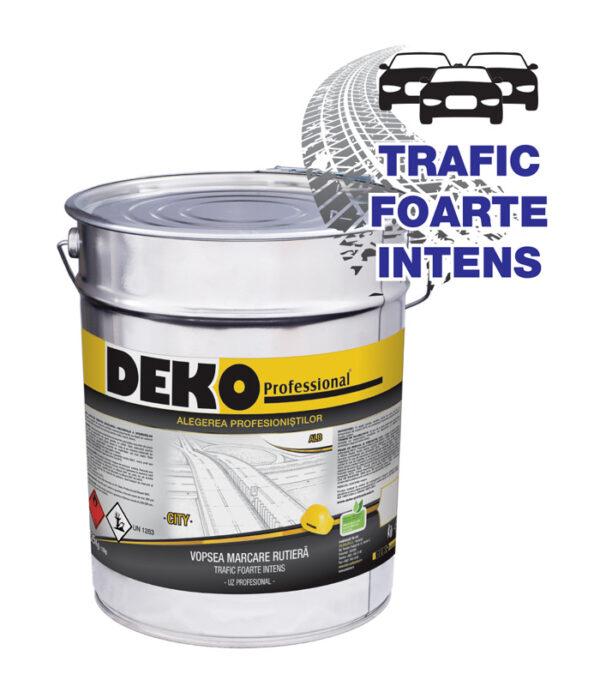 DEKO Vopsea Marcare Rutiera CITY este o vopsea de marcare monocomponentă, acrilică, pentru trafic foarte intens cu Certificat BAST.