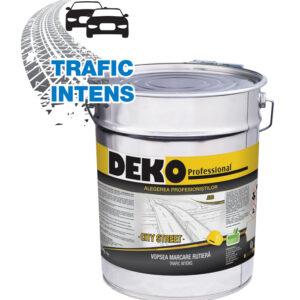 DEKO Vopsea Marcare Rutiera CITY STREETeste o vopsea de marcare monocomponentă, acrilică, pe bază de solvent organic, destinată execuției de marcaje pentru trafic intens.