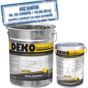 DEKO E3100+I3100 EMAIL EPOXIDIC bicomponent pentru pardoseli epoxidice interioare, cu rezistență medie la trafic, expuse în atmosferă industrială agresivă.