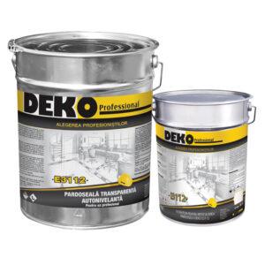 DEKO E3112 PARDOSEALĂ EPOXIDICĂ AUTONIVELANTĂ TRANSPARENTĂ pentru pardoseli transparente epoxidice, cu autonivelare si rezistență mare la uzură.