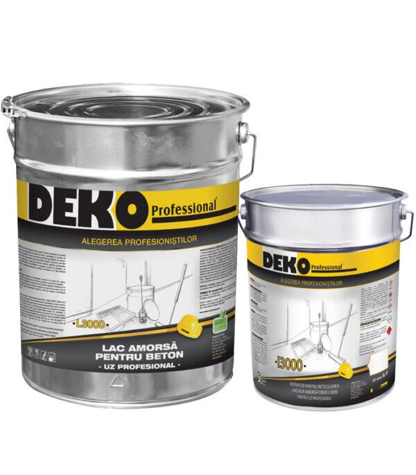 DEKO L3000+I3000 amorsa epoxidicase utilizeaza pentru protecția suprafețelor interioare din beton (pardoseli, piscine) expuse acțiunii intemperiilor.