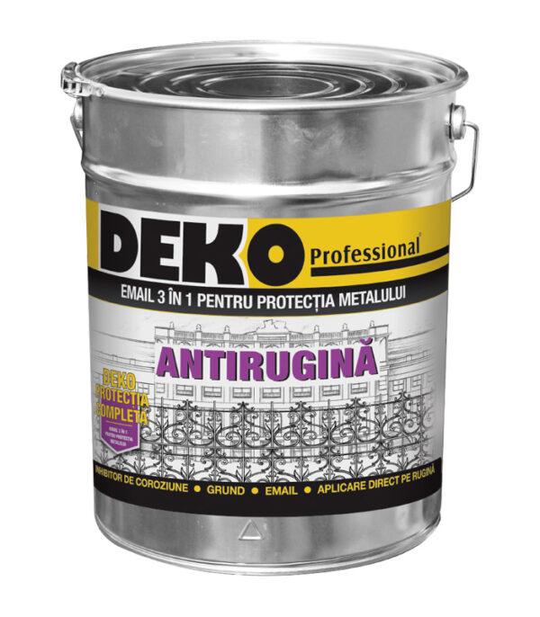 DEKO Protectia completa 3 in 1 email se aplică direct pe rugină şi îndeplineşte 3 funcţii simultan: inhibitor de coroziune, grund şi email pentru protecţie.