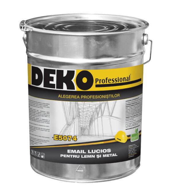 DEKO E5074 EMAIL LUCIOS PENTRU LEMN ȘI METAL pentru protecția și finisarea elementelor interioare și exterioare din lemn și metal.