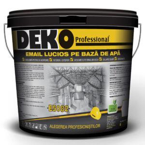 DEKO E5082 EMAIL LUCIOS PE BAZA DE APA pentru suprafețe interioare/exterioare din lemn, metal și zidărie, camere copii, şcoli, grădiniţe, stupi de albine.