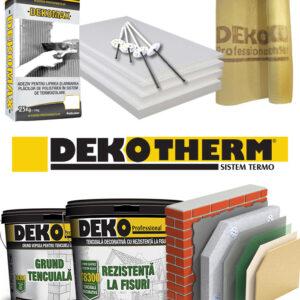 termosistem complet premium profesional cu polistiren, grund, adeziv pentru lipire, armare, spacluire polistiren, plasa de fibra, dibluri, tencuiala decorativa Deko therm
