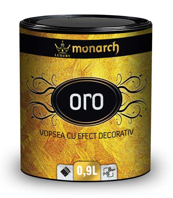 vopsea cu efect decorativ luxury monarch oro este un finisaj decorativ cu efect sablat metalic. Luxury Monarch argento este un strat decorativ de protectie cu un efect lucios, fin granulat. Se aplica la interior si exterior.