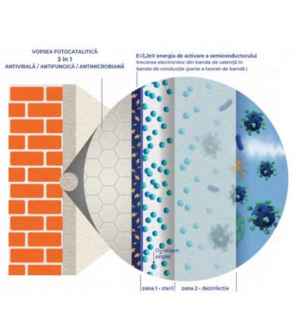 Vopsea lavabila Anti Coronavirus este o vopsea lavabila de interior antibacteriana, fotocatalitica pe baza de apa. Recomandat in: spitale, scoli, gradinite.